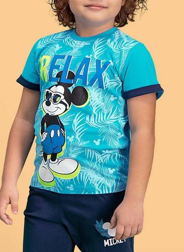 Mickey Mouse Mickey & Minnie Mouse Lisanslı Erkek Çocuk Kapri Takım Mavi